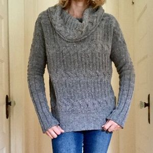 ❄️ Athleta Boxy Cable Knit Cowl Neck Sweater
